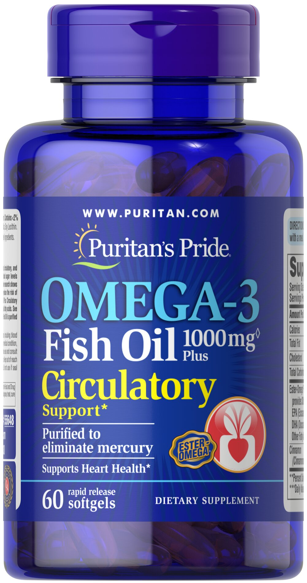 Omega-3 Fish Oil Plus Circulatory Support** <p>EPA and DHA fatty acids support heart, circulatory and metabolic health.** Fatty Acids play a role in providing an energy source for the body.** Supportive but not conclusive research shows that consumption of EPA and DHA omega-3 fatty acids may reduce the risk of coronary heart disease.** One serving of Omega-3 Fish Oil Plus Circulatory Support provides 300 mg total of EPA, DHA, and other Omega-3 fatty acids. See nutrition information for tot