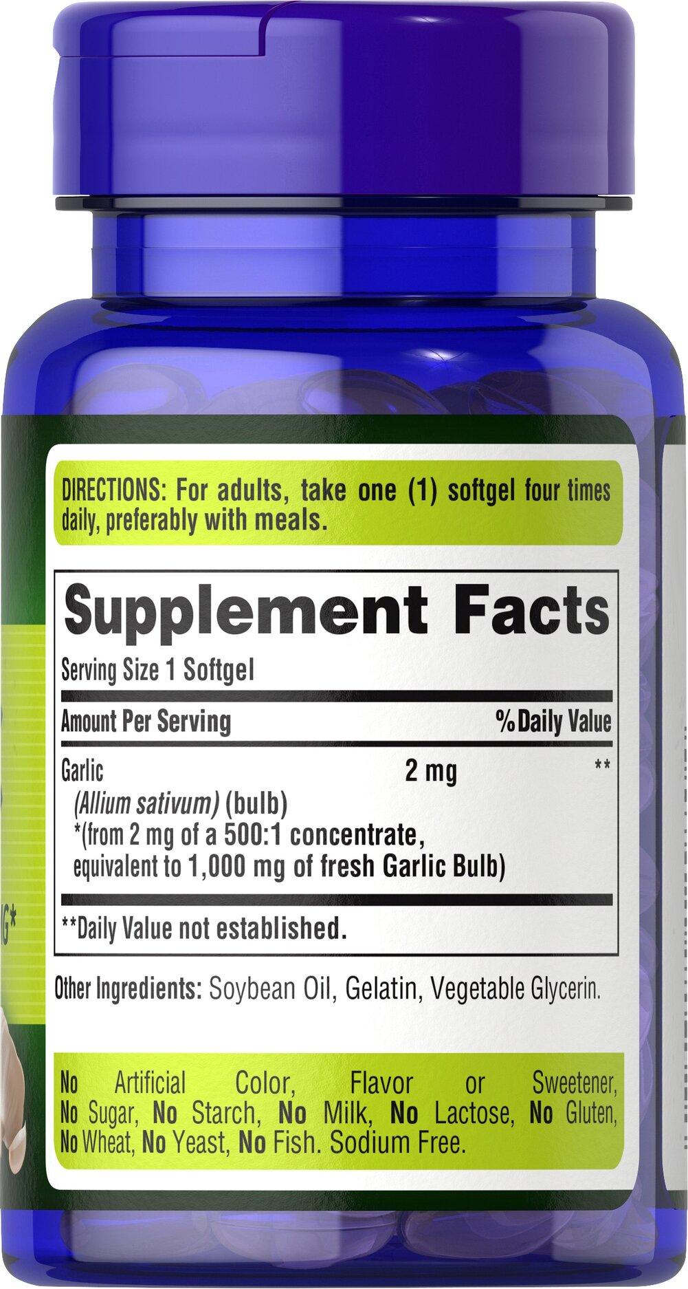 Garlic Oil 1000 mg 100 Rapid Release Softgels | Vitamins ...