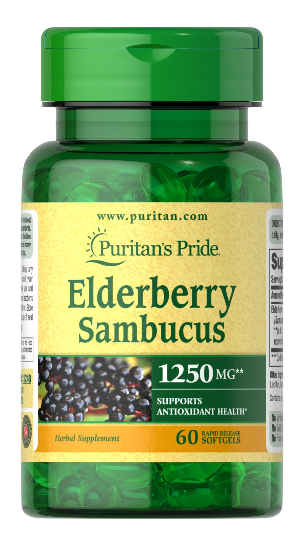 Puritan's Pride Elderberry Sambucus 1250 mg - 60 Softgels ...