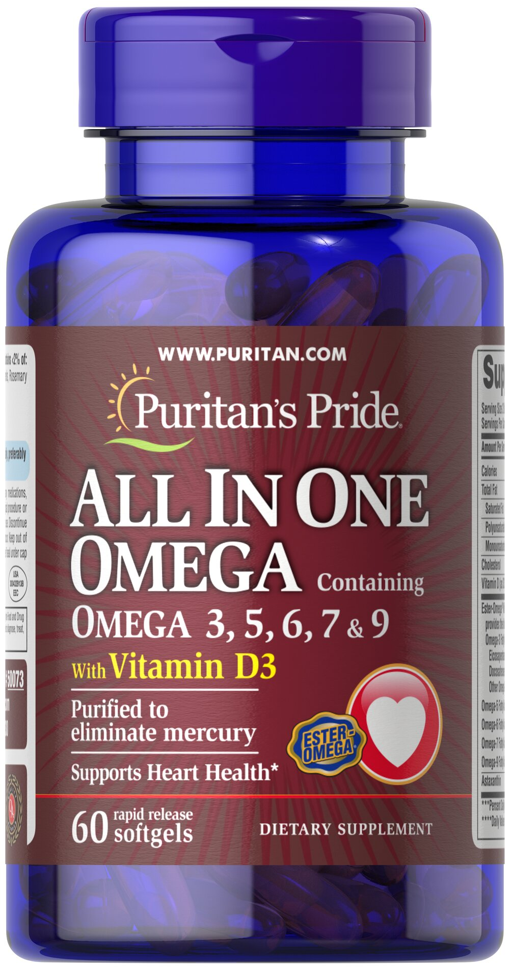 All In One Omega With Vitamin D3 60 Softgels Puritans Pride