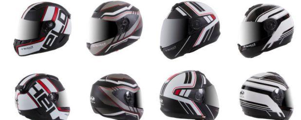 Die neuen Held Helme - made by Schuberth im Überblick (v. li): H-SR2 Race (UVP ab 649,95 Euro), H-R2 Ride (UVP ab 419,95 Euro), H-C4 Tour (UVP ab 649,95 Euro), H-C3 Trip (UVP 499,95 Euro), H-E1 Adventure (UVP ab 649,95 Euro).