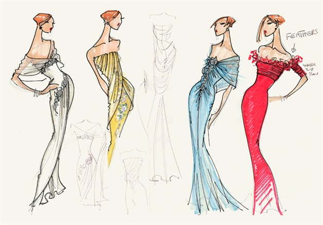 Bellville Sassoon evening gown sketches, 2003-4