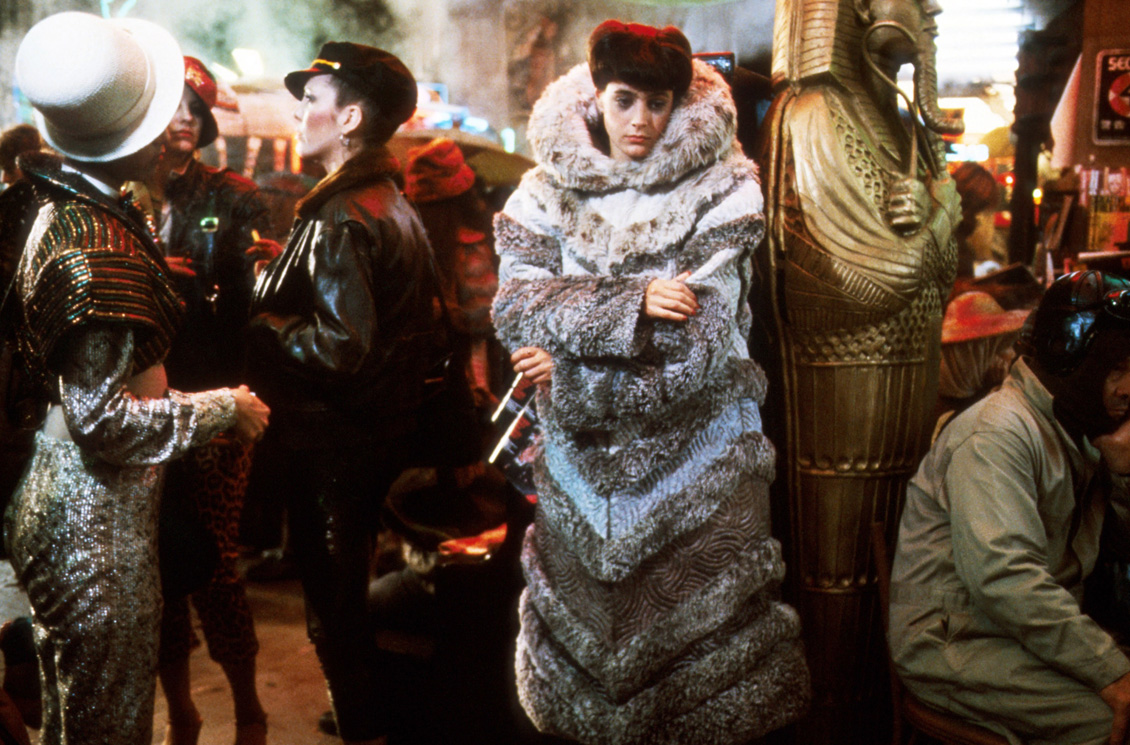 Rachael (Sean Young) in her quilted faux-fur coat in Blade Runner (1982)