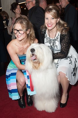 Stephanie McHenry and Laura Black with Angus the dog.