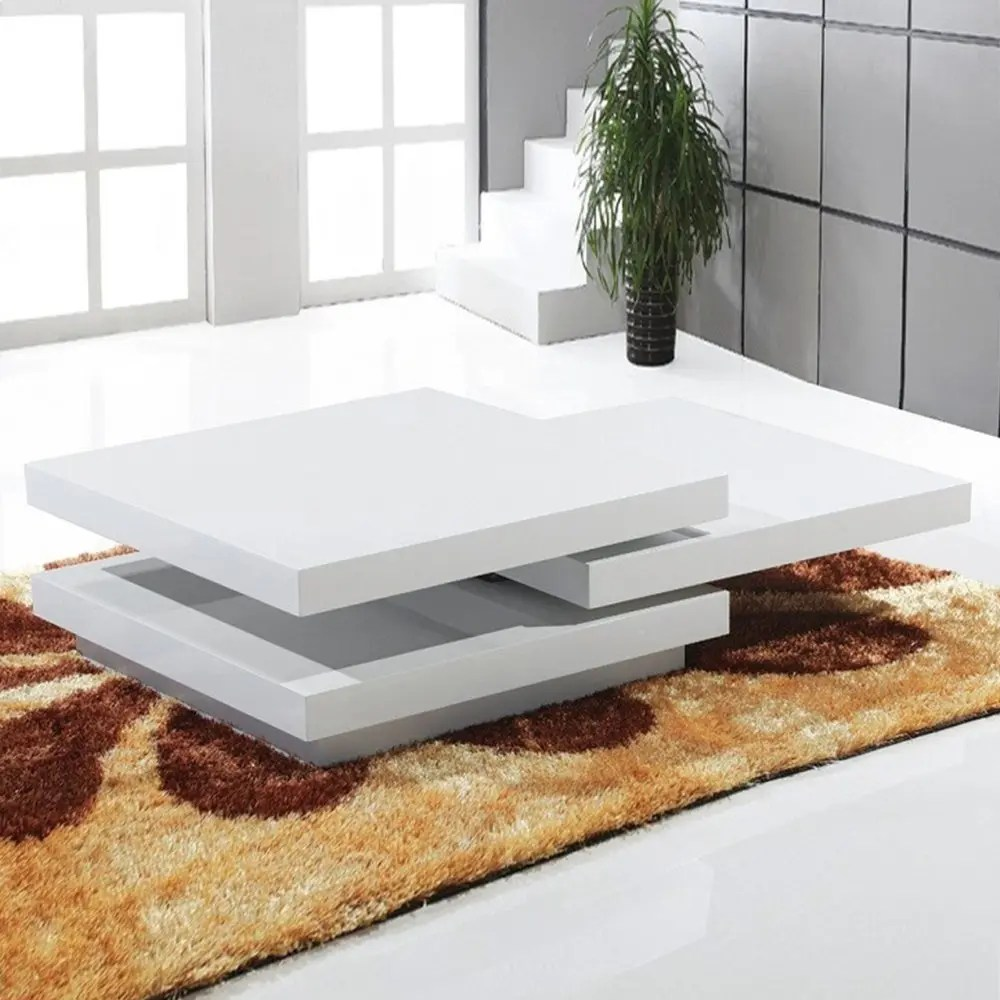 white swivel modern coffee table square high gloss mdf wholesale