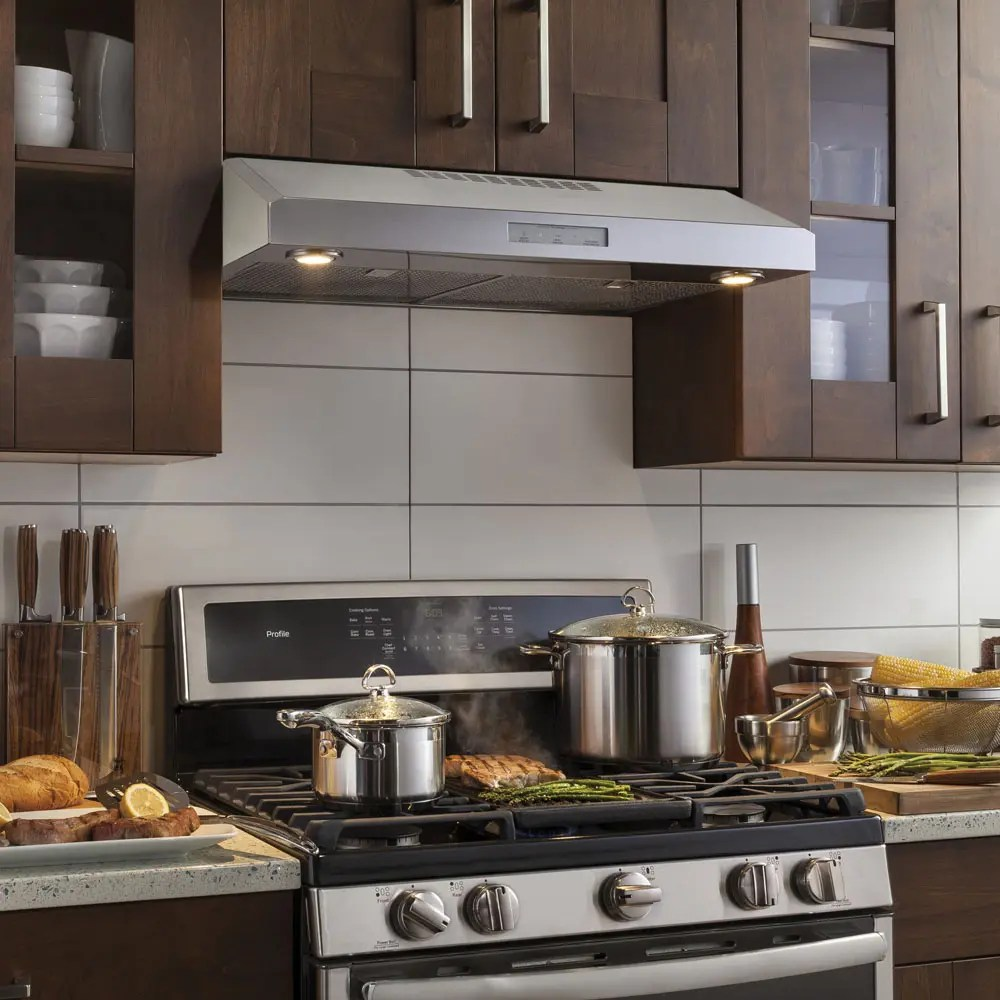 ge profile 30 under the cabinet vent hood stainless steel pvx7300sjssc