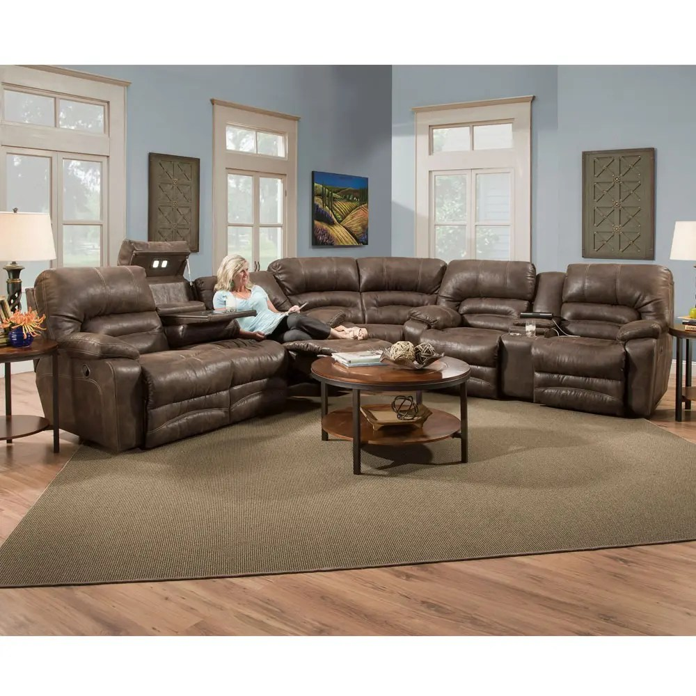 50044legacy In By Franklin Furniture In Cleveland Tx Reclining Sofa W Drop Down Table Lights