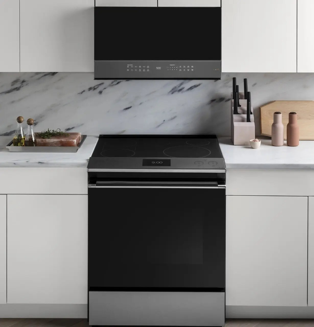 cafe 2 1 cu ft smart over the range microwave oven in platinum glass