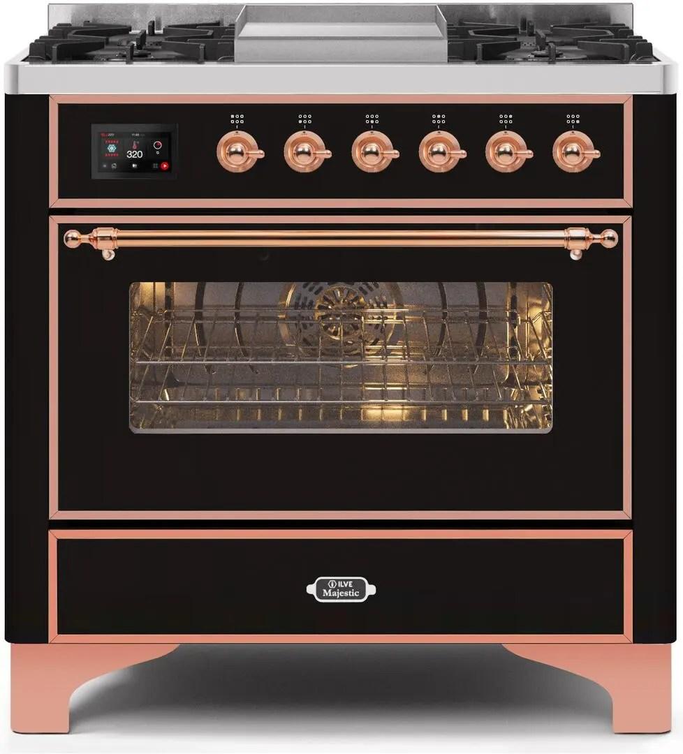 Majestic II 36 Inch Dual Fuel Liquid Propane Freestanding Range in Glossy Black with Copper Trim