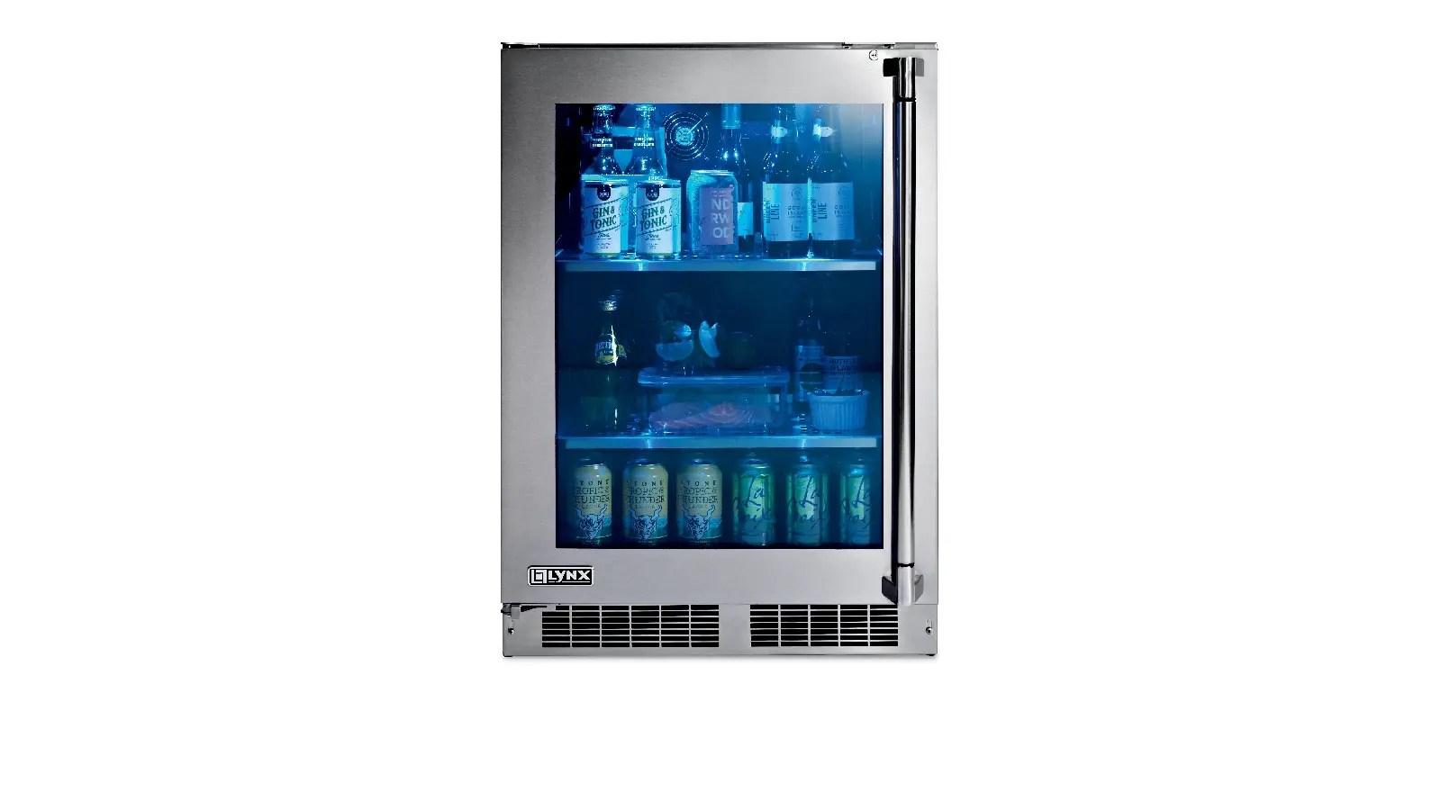"""24"""" Outdoor Glass Door Refrigerator, Left Hinge"""