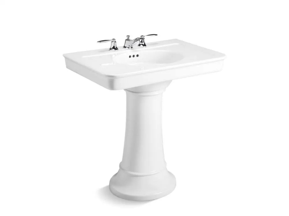 pedestal sink stucco white