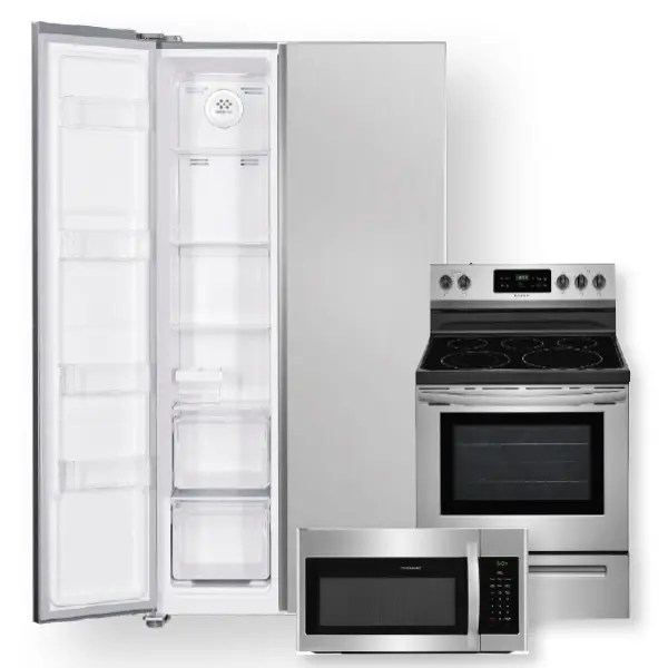 18 8 cu ft 36 inch counter depth side by side refrigerator electric range package