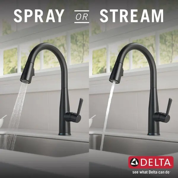 matte black single handle pull down kitchen faucet with touch 2 o technology