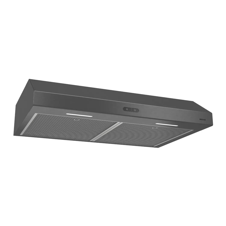 Glacier 36-Inch Convertible Under-Cabinet Range Hood, 375 Max Blower CFM, Black Stainless Steel