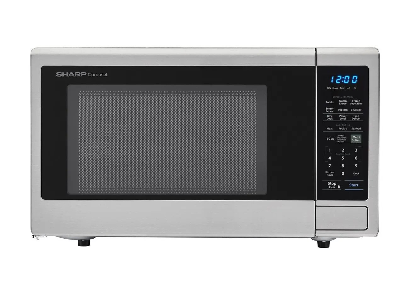 sharp 2 2 cu ft 1200w stainless steel countertop microwave oven