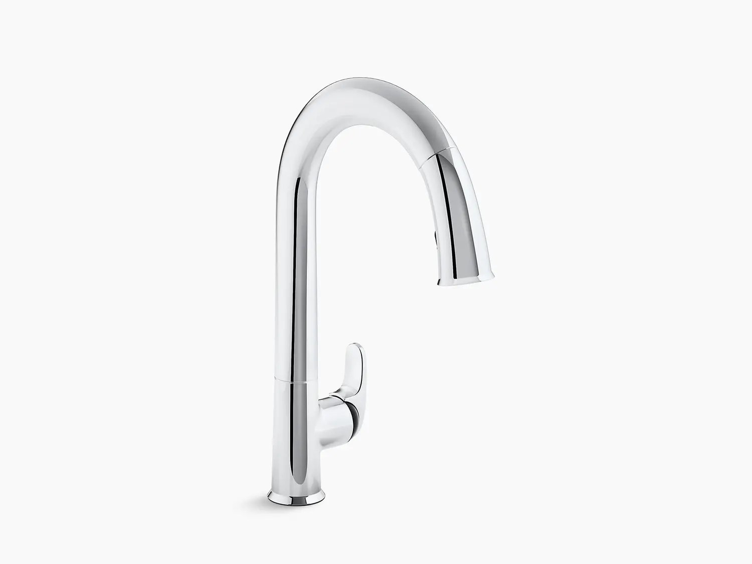 polished chrome touchless kitchen faucet with black accents 15 1 2 pull down spout docknetik magnetic docking system and a 2 function sprayhead