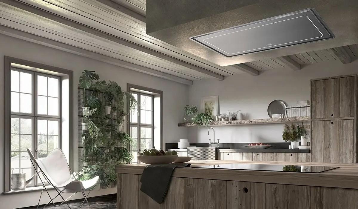 "36"" ceiling mount stainless steel island hood"