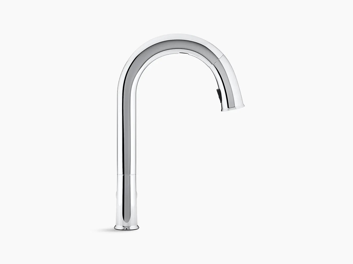 oil rubbed bronze touchless kitchen faucet with 15 1 2 pull down spout docknetik magnetic docking system and a 2 function sprayhead featuring the