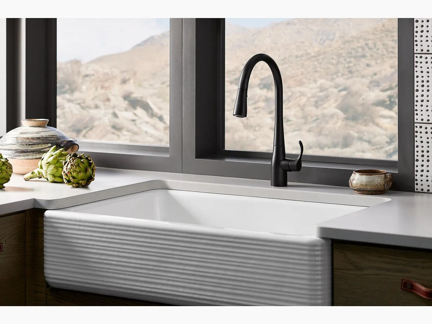matte black single hole or three hole kitchen sink faucet with 16 5 8 pull down spout docknetik magnetic docking system and a 3 function sprayhead