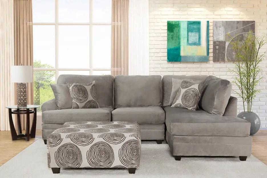 flair 2241ss 2 piece champion grey sectional sofa