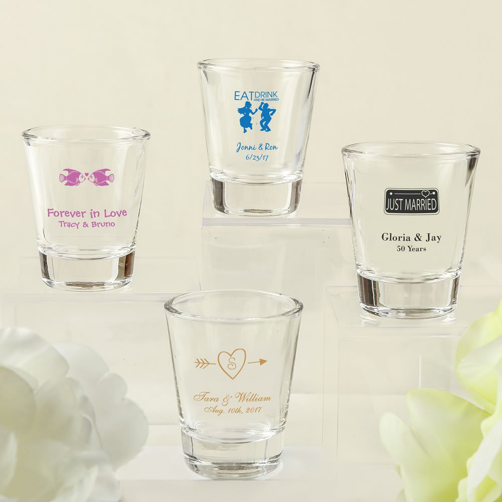 Diy Wedding Design Screen Printed Shot Glass Favors