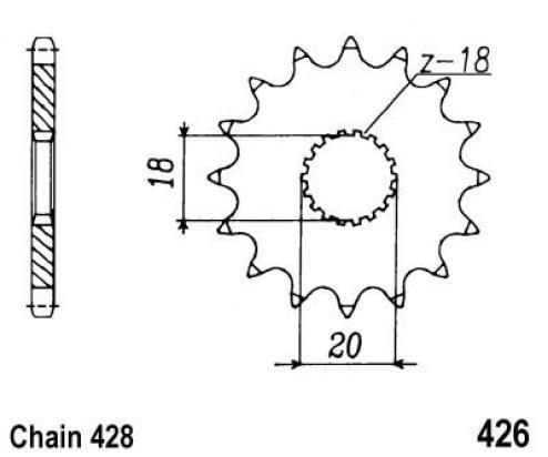 426-13 Front Sprocket Suzuki LT125 D,E,F,G,H Parts at