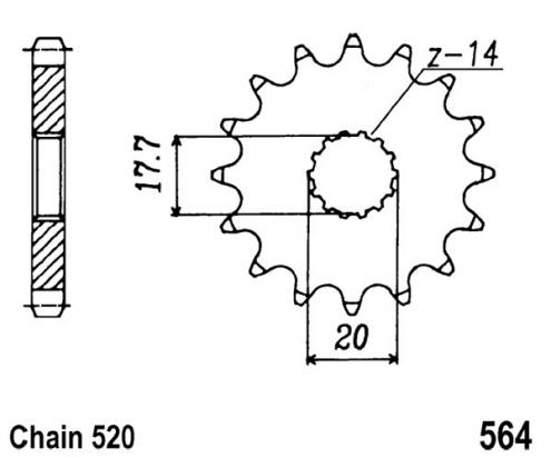 Yamaha DT 200 WR (3XP) 90-94 Sprocket Front Less 2 Teeth