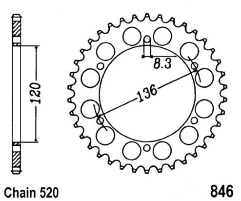Yamaha SRX 400 (1JL)(Japanese Market) 85 Sprocket Rear