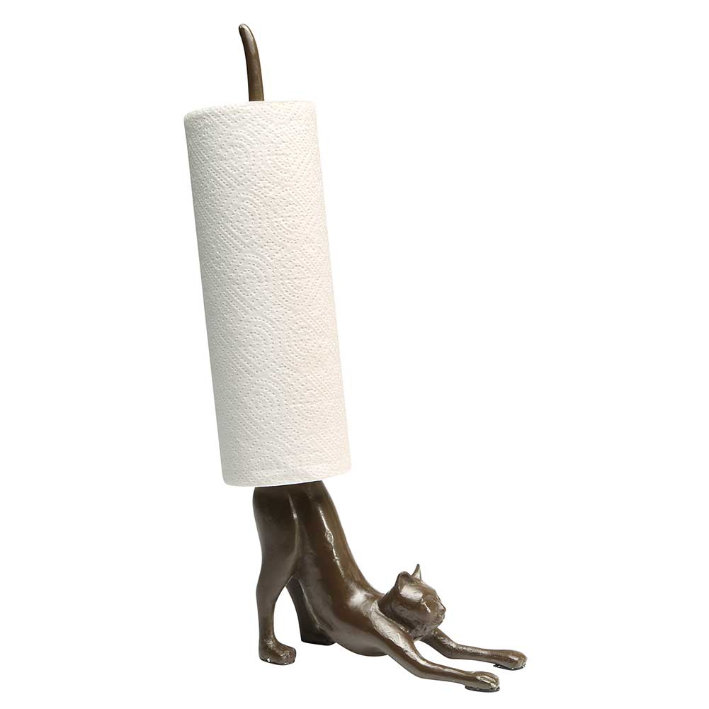 kitchen paper towel holder island ideas for small kitchens exclusive what on earth cast iron yoga cat ebay stretching decor