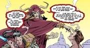 Marka Ragnos proclaiming Exar Kun and Ulic Qel-Droma as Sith Lords.