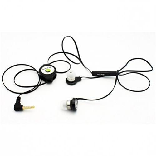 BLACK In-Ear Retractable Stereo Headset Wired Dual Earbuds