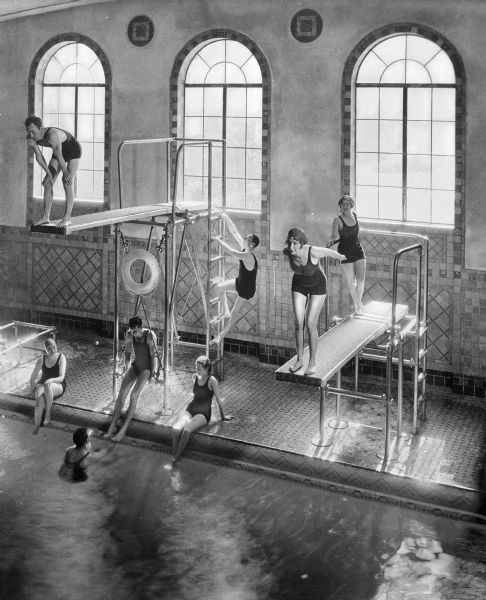 Old photo showing the high dive and other boards in use