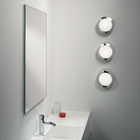 Badezimmerleuchte Dakota mit Chromring Opalglas 18 cm  WOHNLICHT