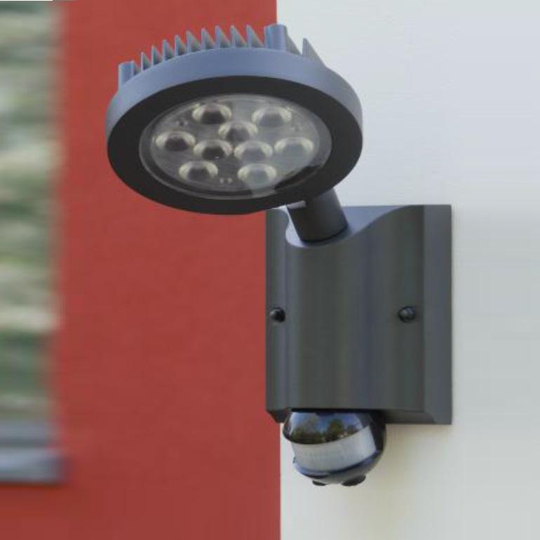 Aussen LEDSpot  mit Bewegungsmelder in anthrazit  WOHNLICHT