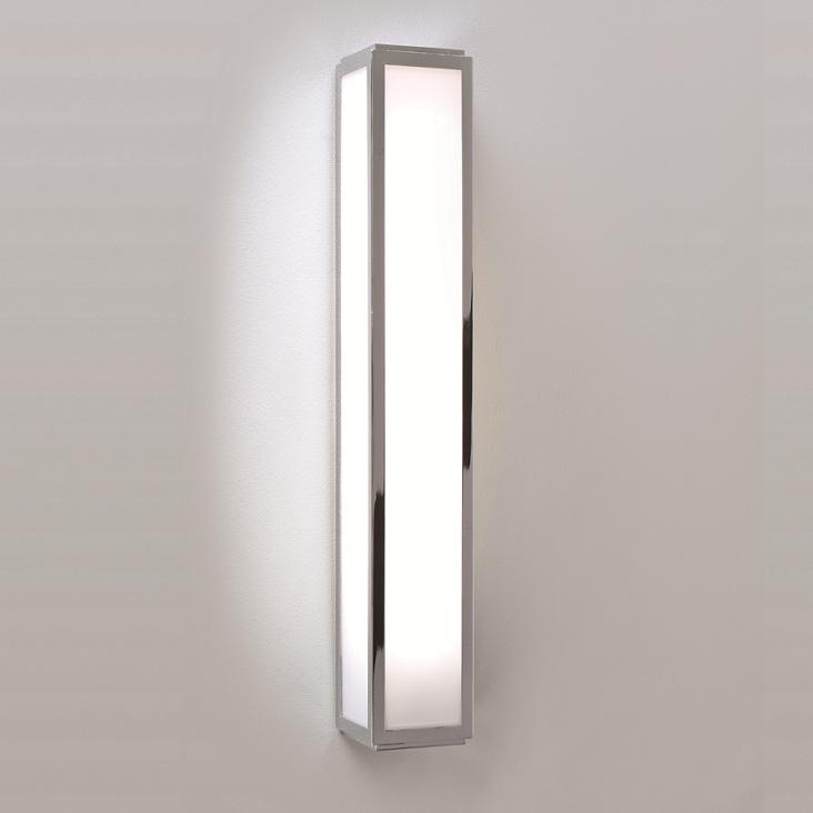 LHG Badezimmer Wandleuchte in Chrom  Opalglas  50 cm Lnge  inklusive Leuchtmittel  WOHNLICHT