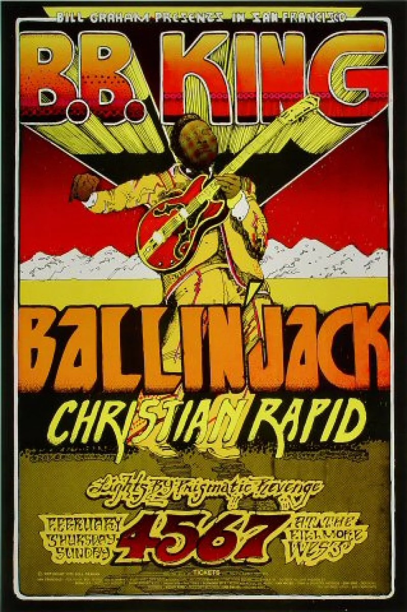 b b king vintage concert poster from fillmore west feb 4 1971 at wolfgang s