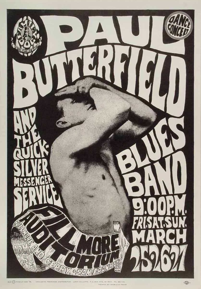 the paul butterfield blues band vintage concert poster from fillmore auditorium mar 25 1966 at wolfgang s