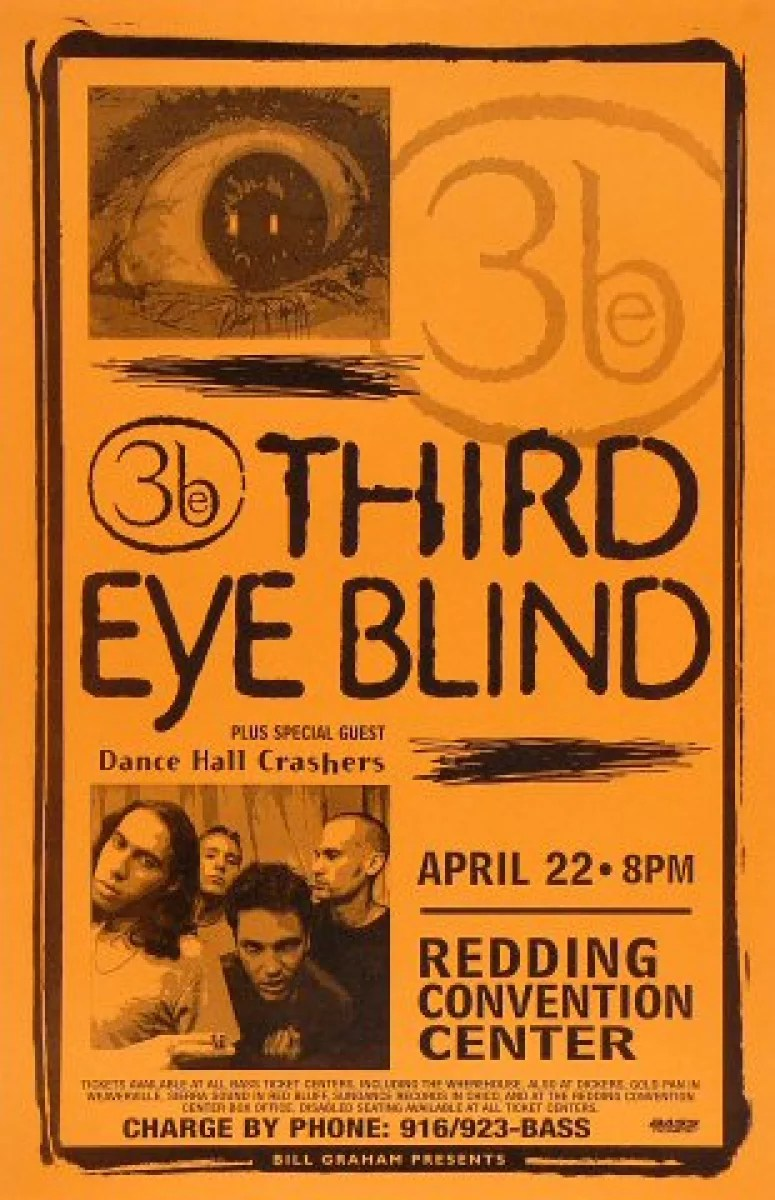 third eye blind vintage concert poster from redding convention center apr 22 1998 at wolfgang s
