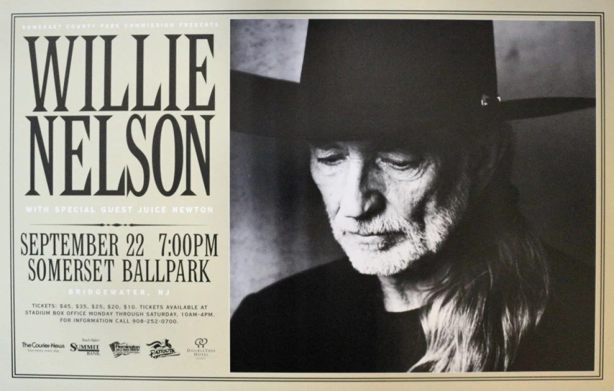 willie nelson vintage concert poster from somerset ballpark sep 22 1999 at wolfgang s