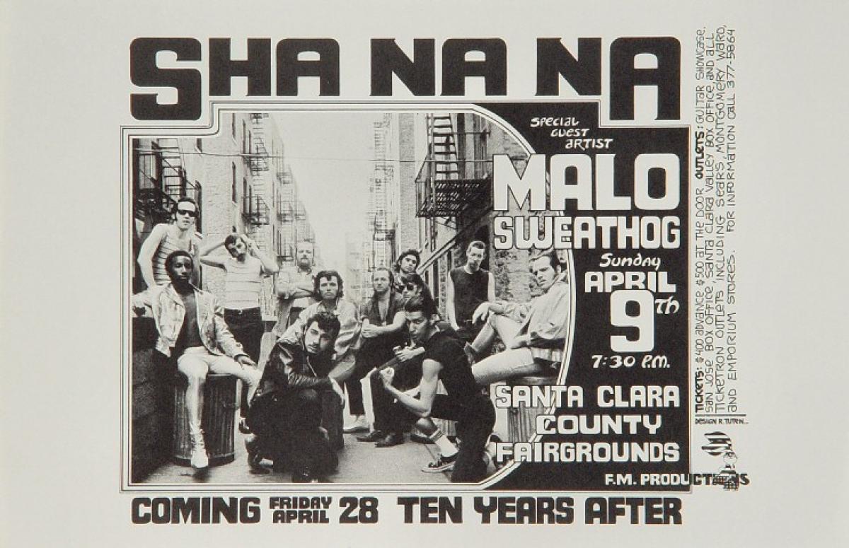 Sha Na Na Vintage Concert Handbill From Santa Clara County