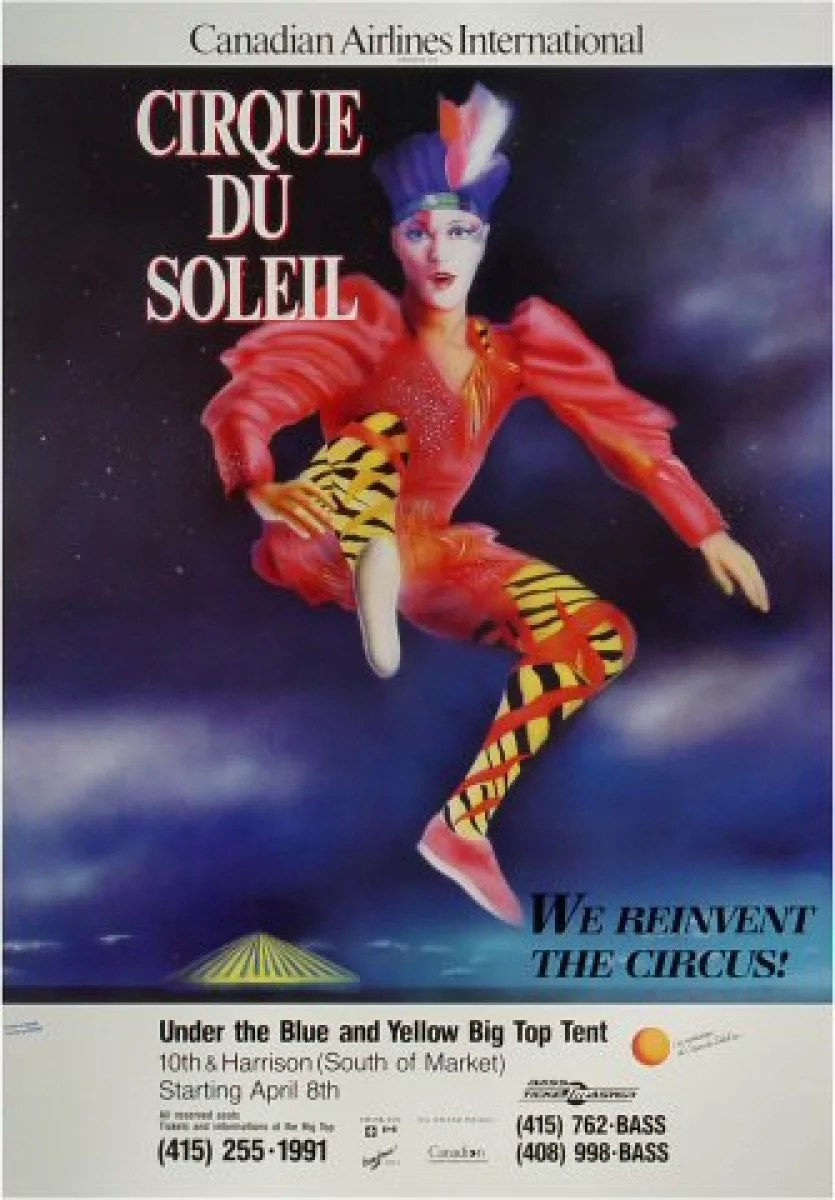 cirque du soleil vintage concert poster from 10th street harrison street apr 8 1988 at wolfgang s