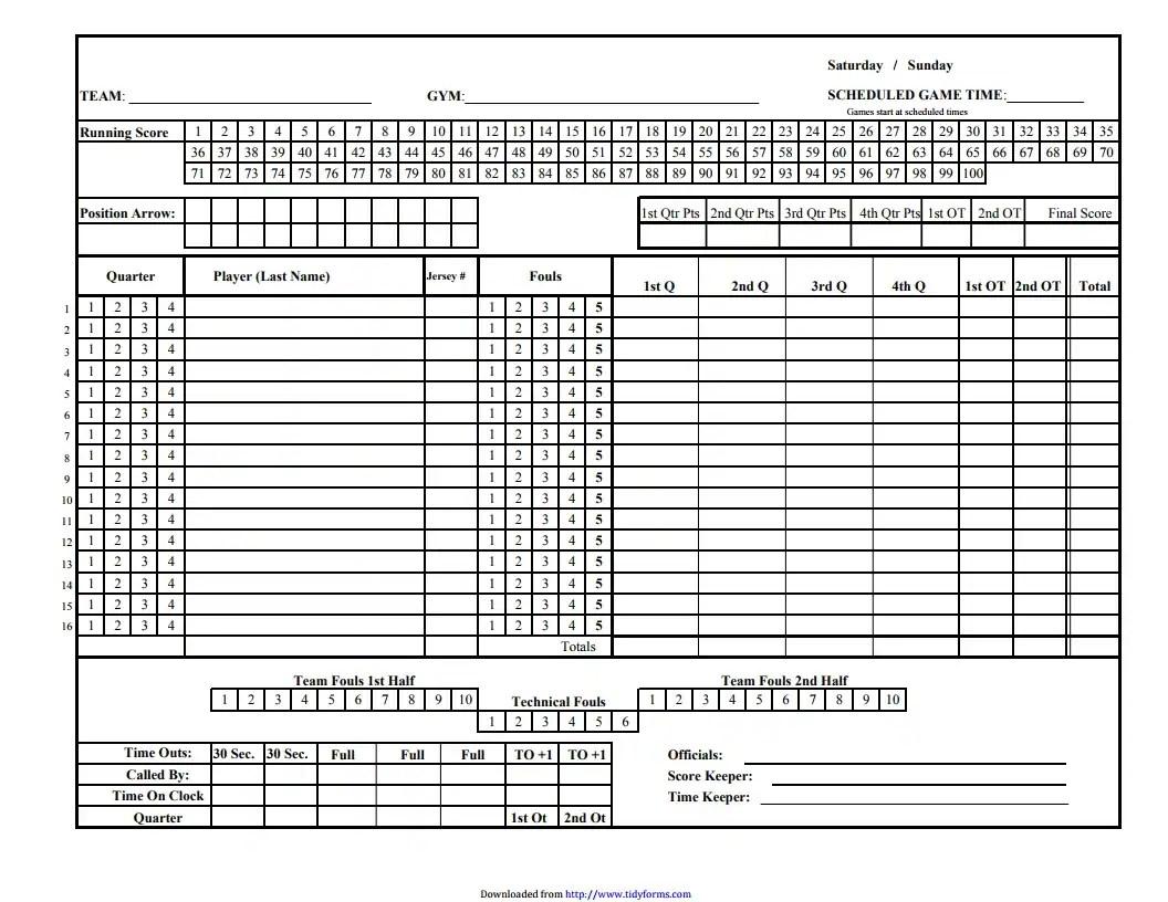 Basketball Score Sheet Free Download Create Edit Fill