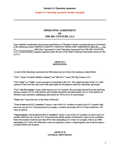 Create the operational guidelines for an llc company online. Llc Operating Agreement Template Free Download Wondershare Pdfelement