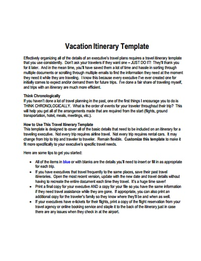 Vacation Itinerary Template Free Download Create Edit Fill And Print Wondershare Pdfelement