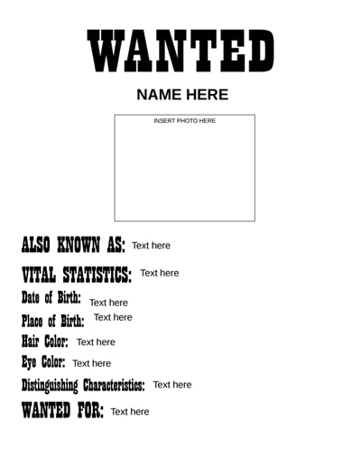 Wanted Poster Template: Free Download, Create, Edit, Fill