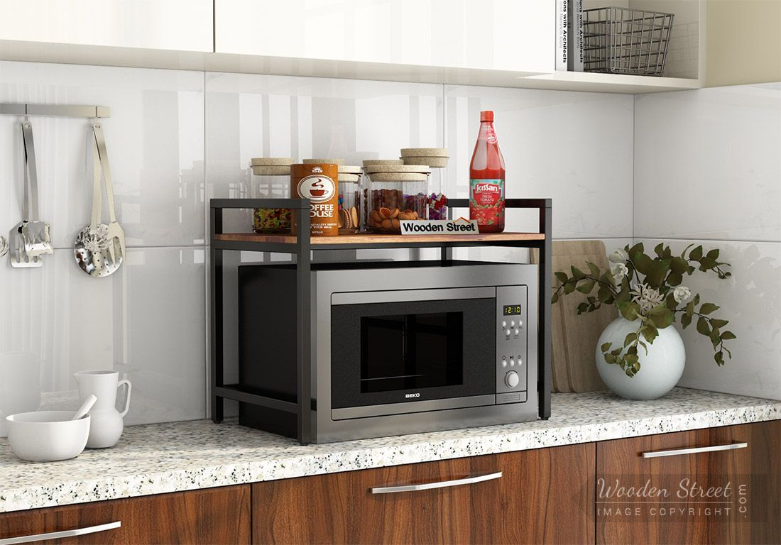 buy spora microwave stand honey finish online in india wooden street