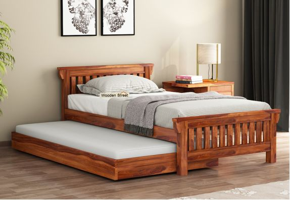 buy wooden kids trundle bed online in india