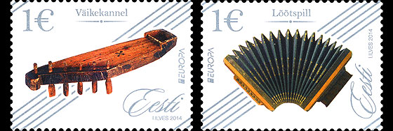 Europa 2014 – National Music Instruments at face value   Official Estonia 2014 Stamps for Stamp Collectors   WOPA Stamps