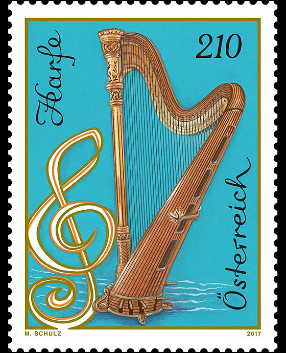 Harp at face value   Official Austria 2017 Stamps for Stamp Collectors   WOPA Stamps