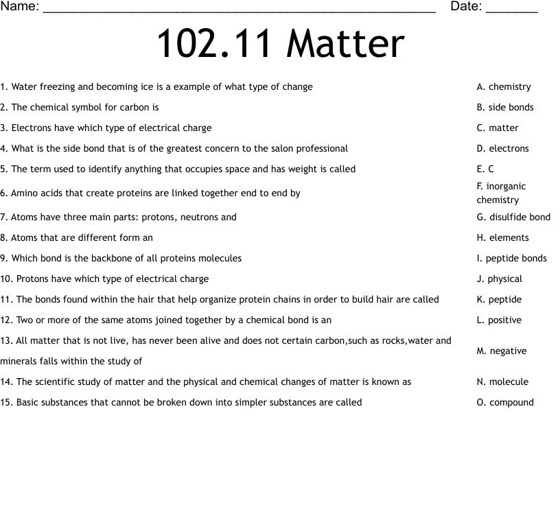 medium resolution of 102.11 Matter Worksheet - WordMint